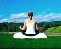 Meditating at Dahlonega Spa Resort.