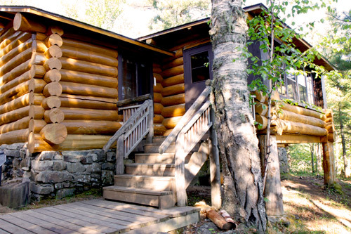 Cabin exterior at Clearwater Historic Lodge.