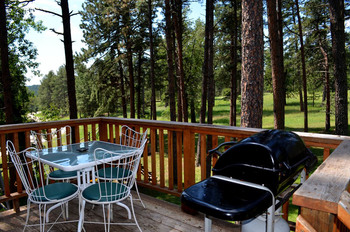 Cabin deck at Silver Mountain Resort and Cabins.