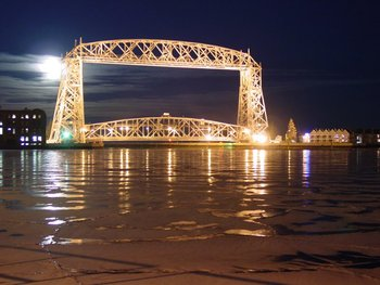 Lift Bridge at Night by South Pier Inn