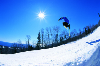 Snowboarding at Lutsen Resort on Lake Superior.