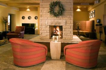 Lobby Fireplace at Edelweiss Lodge