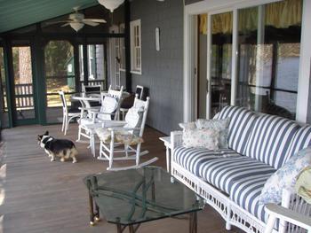 Rental porch at Franconia Notch Vacations Rental & Realty.