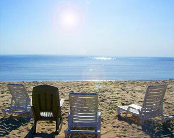 The beach at Glidden Lodge Beach Resort.