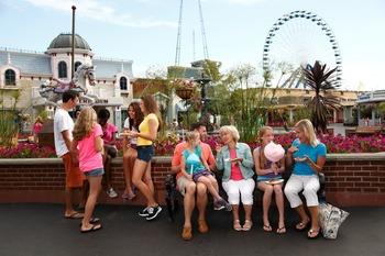 Family at amusement park at Darien Lake Resort.