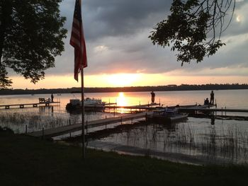 Sunset on the lake at Sandy Pines Resort.