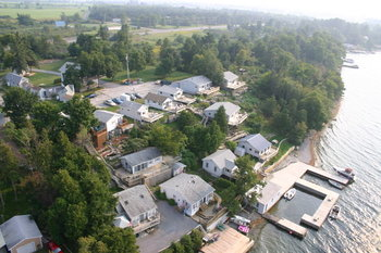 Aerial view of Angel Rock Waterfront Cottages.