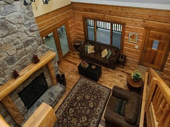 Cabin living room at Greybeard Rentals.