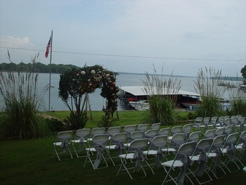 Outdoor wedding at Paradise Cove Marine Resort.