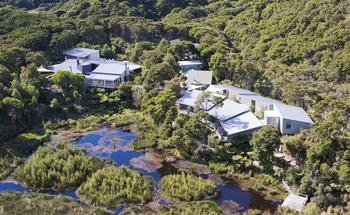 Aerial view of Awaroa Lodge and Café.
