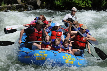 Rafting the Big Eddy on the Deschutes River at Mount Bachelor Village Resort.