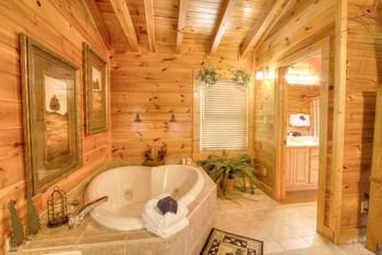 Rental bathroom at Auntie Belham's Cabin Rentals.