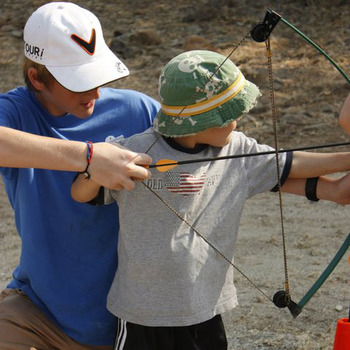 Family Week archery at Greenhorn Creek Resort.