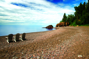 Beach at Lutsen Resort on Lake Superior.