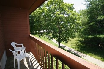 Balcony view at Fireside Inn & Suites at Lake Winnipesaukee.