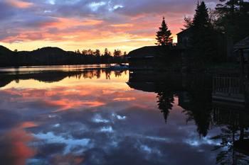 Sunset at Big Moose Inn.