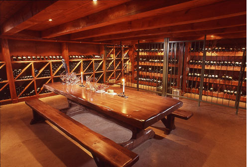 Wine room at Elmhirst's Resort.