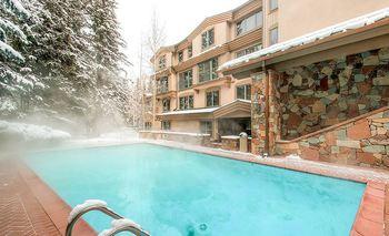 Outdoor heated pool at The Galatyn Lodge.