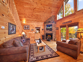 Living Room at Alpine Mountain Chalets.