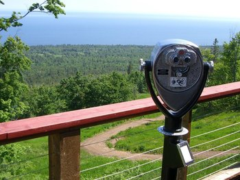 Binoculars at Eagle Ridge at Lutsen Mountains.