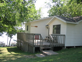 Cabin exterior at Riverside Resort.