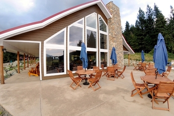 This is where guests gather for meals and socializing when not out on the trail at Tod Mountain Ranch.