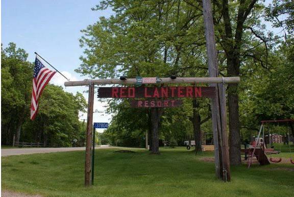 Red Lantern Resort sign.