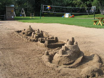 Sand castles at Lost Lake Lodge.