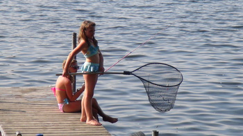 Dock fishing at Woodland Beach Resort.