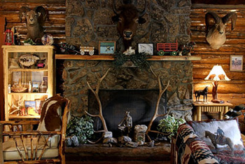 Lodge Fireplace at Absaroka Mountain Lodge