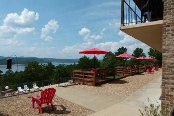 Outdoor patio at Pointe West Resort & Suites.