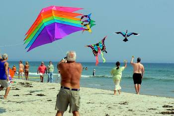 Flying kites on the beach at The Meadowmere Resort.