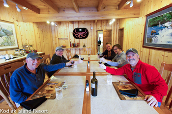 Dining at Alaska's Kodiak Island Resort.