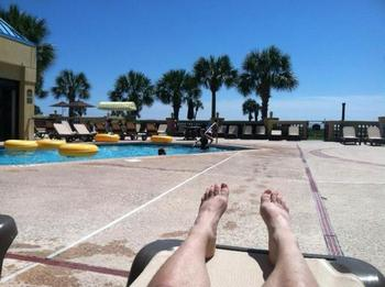 Relaxing by the pool at Springmaid Beach Resort.