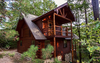 Exterior view of Cinnamon Valley Resort's Luxury Log Cabins.
