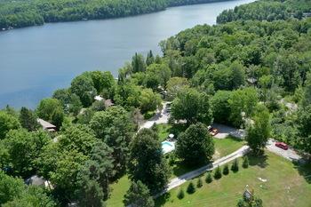 Aerial view of Ogopogo Resort.