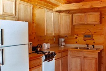 Cedar Cabin kitchen at Lodge of Whispering Pines.