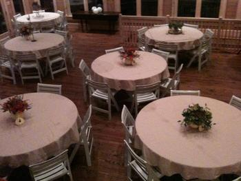 Banquet tables at Splendor Mountain.