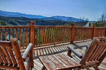 Cabin deck at Great Cabins in the Smokies.