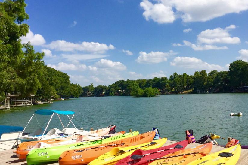 Kayaks at Sons Island at Lake Placid.