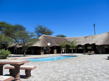 Exterior view of Elephant Sands Safari Lodge.