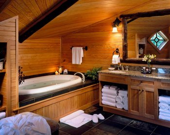 Guest suite  bathroom at The Whiteface Lodge.