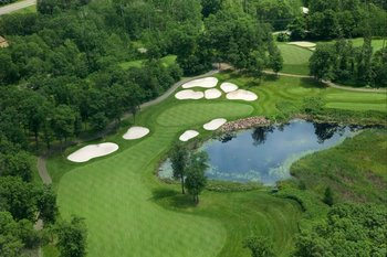 Aerial golf course view at Madden's on Gull Lake.