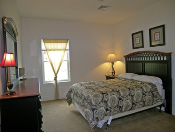 Vacation rental bedroom at Loon Reservation Service.