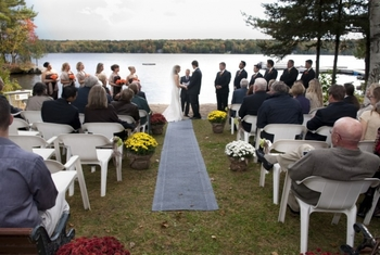 Wedding ceremony at Westwind Inn on the Lake.