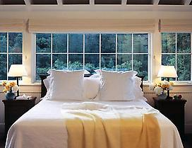 Guest bedroom at Meadowood Napa Valley.