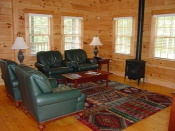 Cabin living room at Point Lookout Resort.