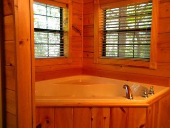 Cabin hot tub at Cabin Fever Resort.