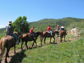 Horseback riding at Fin and Feather Inn.