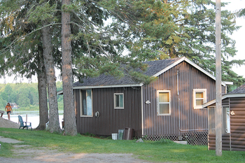 Cabin exterior at Pine Acres Resort and Campground.
